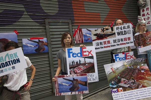 CHINA HONG KONG FEDEX SHARK FIN PROTEST